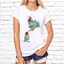 Женская футболка с принтом Поющая птица Push IT