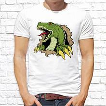 Мужская футболка с принтом Злой Динозавр Push IT