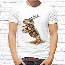 Мужская футболка с принтом  Собака в шкуре динозавра Push IT