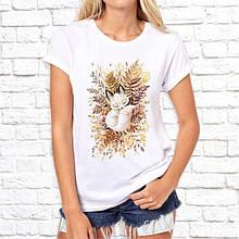 Женская футболка с принтом Лисица белая Push IT