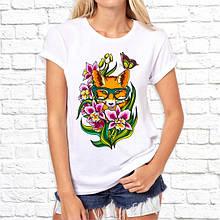 Женская футболка с принтом Лисица в цветах Push IT