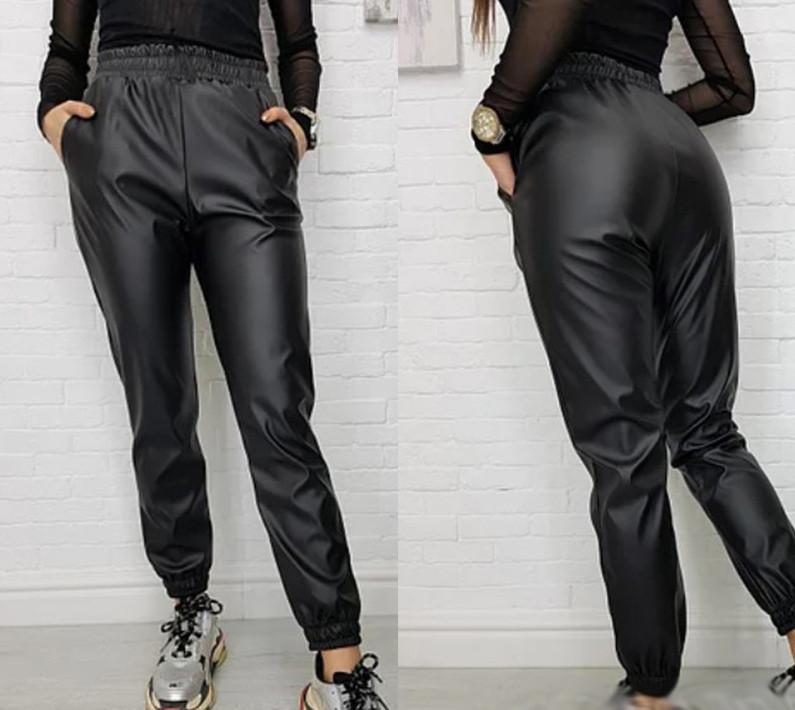 """Жіночі шкіряні штани на гумці """"Маркус"""" великі розміри І"""