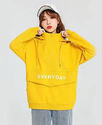 Худи женское Everyday, желтый Berni Fashion (S)
