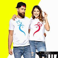 Парные футболки с принтом Сердце Push IT S, Белый