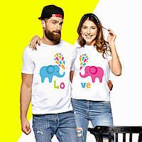 Парные футболки с принтом Слоники LOVE Push IT XS, Белый