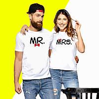 """Парные футболки с надписью """"MRS и MR."""" Push IT XS, Белый"""
