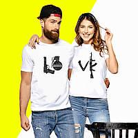 Парные футболки с принтом LOVE Push IT XS, Белый