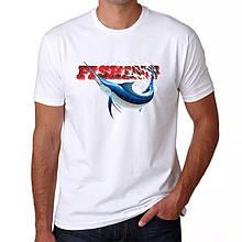 "Мужская футболка для рыболова ""Fishing"" Белый Push IT"