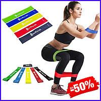 Набор разноцветных спортивных резинок Bodbands для занятий фитнесом комплект лент эспандеров для ног 5 шт в 1