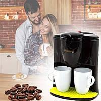 Капельная кофеварка для дома + 2 чашки Crownberg CB-1560 Электрическая кофеварка на две чашки