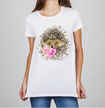 Женская футболка с принтом Ёжик Push IT