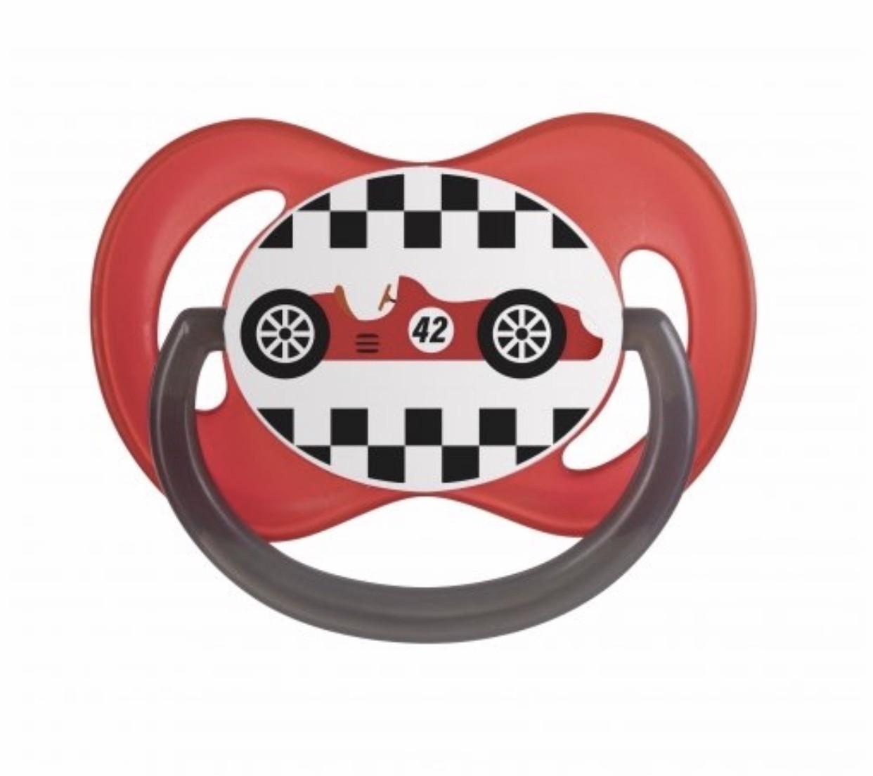 Пустышка силиконовая симетричная красная 18+ м  Racing Canpol babies 22/573