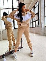 Стильный, теплый и удобный спортивный костюм с капюшоном бежевый / Теплий жіночий спортивний костюм бежевий