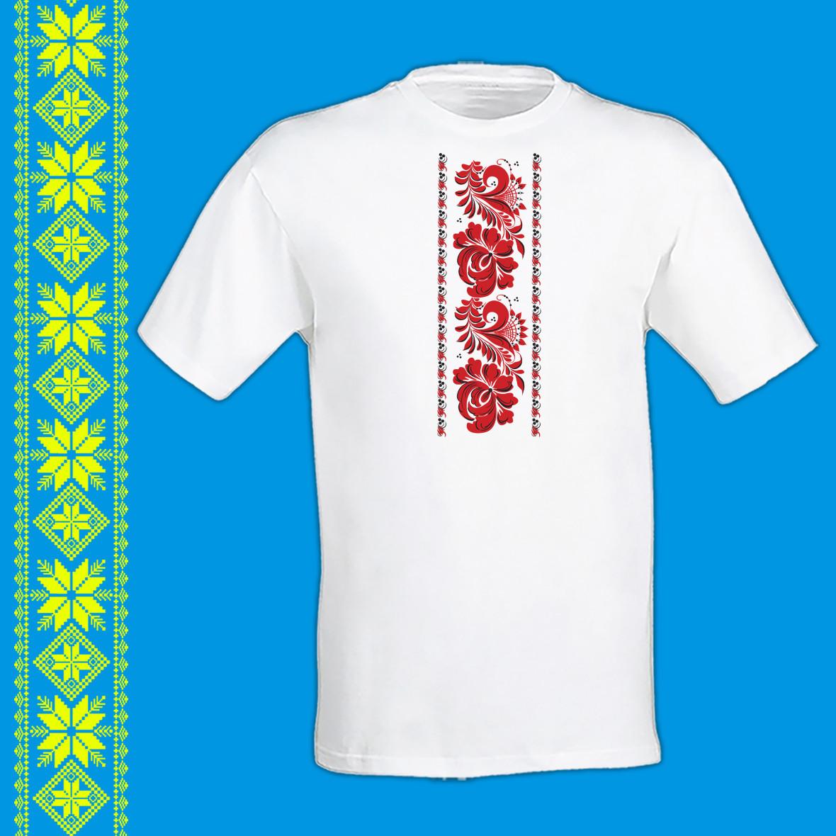 """Чоловіча футболка - вишиванка з принтом """"Петриківський розпис (червона)"""" Push IT S, Білий"""