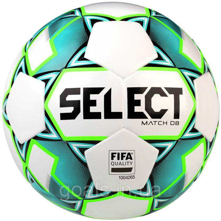 Мяч футбольный SELECT Match DB FIFA  (748), бел/зелен р.5