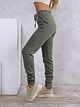 Теплые штаны цвета хаки с нашивками на манжетах  vN10533, фото 2