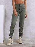 Теплые штаны цвета хаки с нашивками на манжетах  vN10533, фото 3