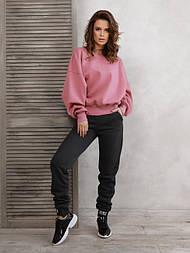 Темно-серые теплые штаны с нашивками на манжетах  vN10534