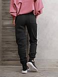Темно-серые теплые штаны с нашивками на манжетах  vN10534, фото 2