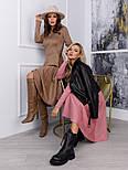 Бежевое замшевое приталенное платье классического кроя vN10540, фото 4