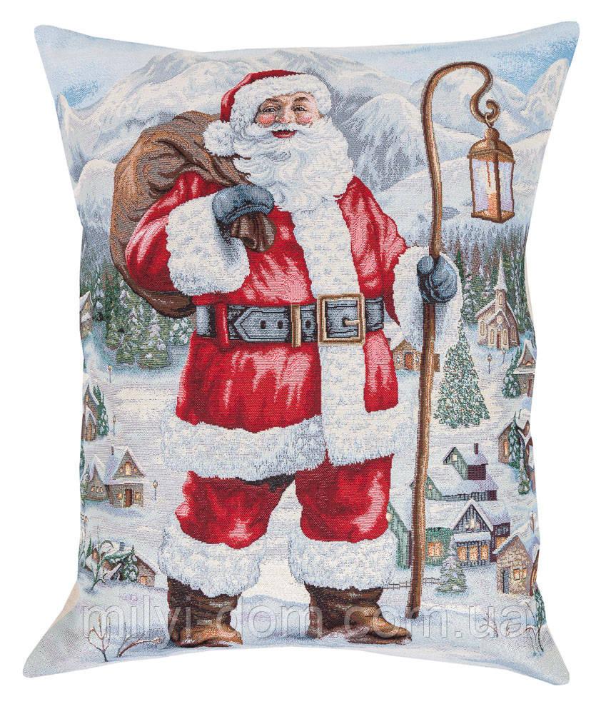 """Декоративная большая гобеленовая наволка """"Санта с посохом"""", серебристый люрекс,  56*70 см"""