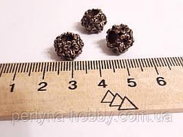 """Фурнітура для біжутерії намистина металева """"Вінок"""". Діаметр 12 мм. Колір мідь. Ціна за штуку."""