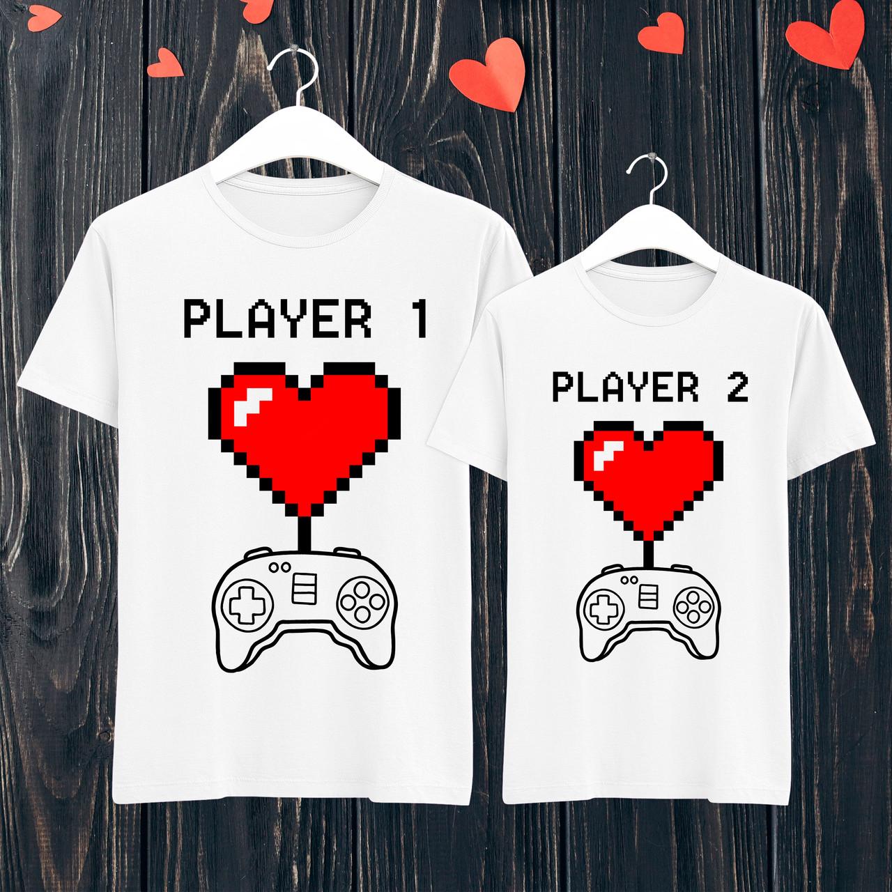 """Парные футболки с принтом """"Player 1/Player 1"""" Белый Push IT"""