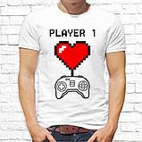 """Парные футболки с принтом """"Player 1/Player 1"""" Белый Push IT, фото 2"""