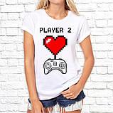 """Парные футболки с принтом """"Player 1/Player 1"""" Белый Push IT, фото 3"""