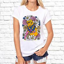 Женская футболка с принтом Лисичка в цветах Белый Push IT