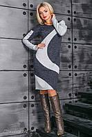 Теплое женское платье ангора полуприлегающего силуэта, с ассиметричными рельефами, фото 1