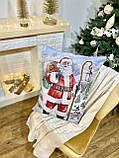 """Декоративная большая гобеленовая наволка """"Санта с посохом"""", серебристый люрекс,  56*70 см, фото 2"""