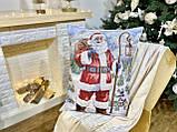 """Декоративная большая гобеленовая наволка """"Санта с посохом"""", серебристый люрекс,  56*70 см, фото 3"""