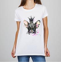 Женская футболка с принтом Собака Белый Push IT