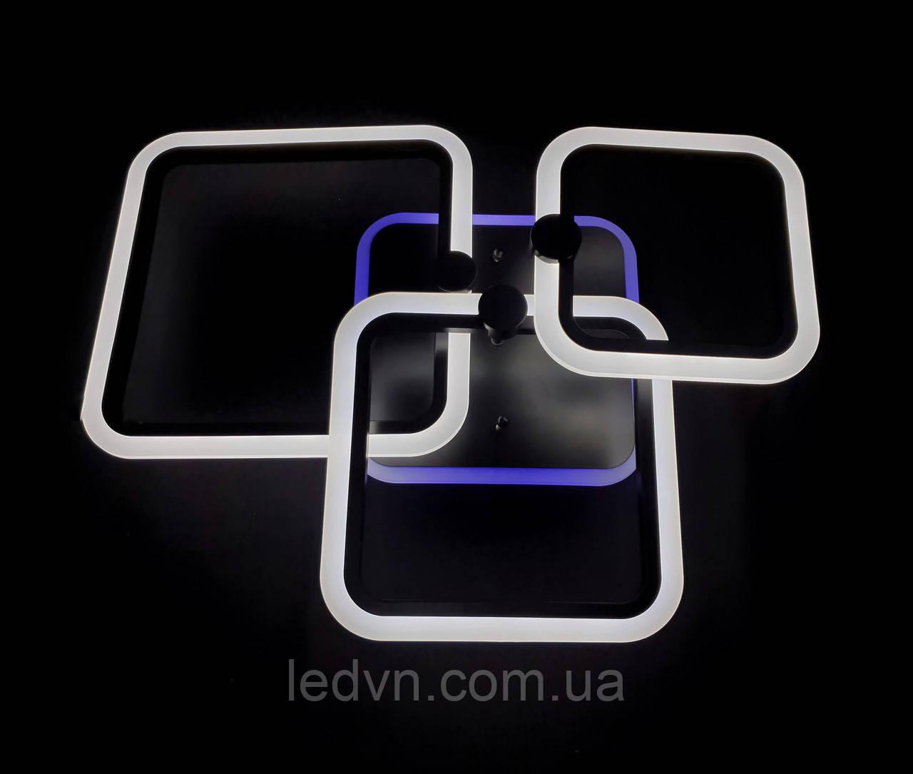 Светодиодная  люстра 3 черных квадрата