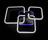 Светодиодная  люстра 3 черных квадрата, фото 1