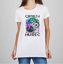 """Женская футболка с принтом Наушники """"Open your music"""" Push IT"""