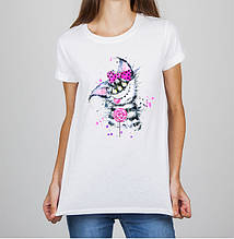 Женская футболка с принтом Кошка Push IT