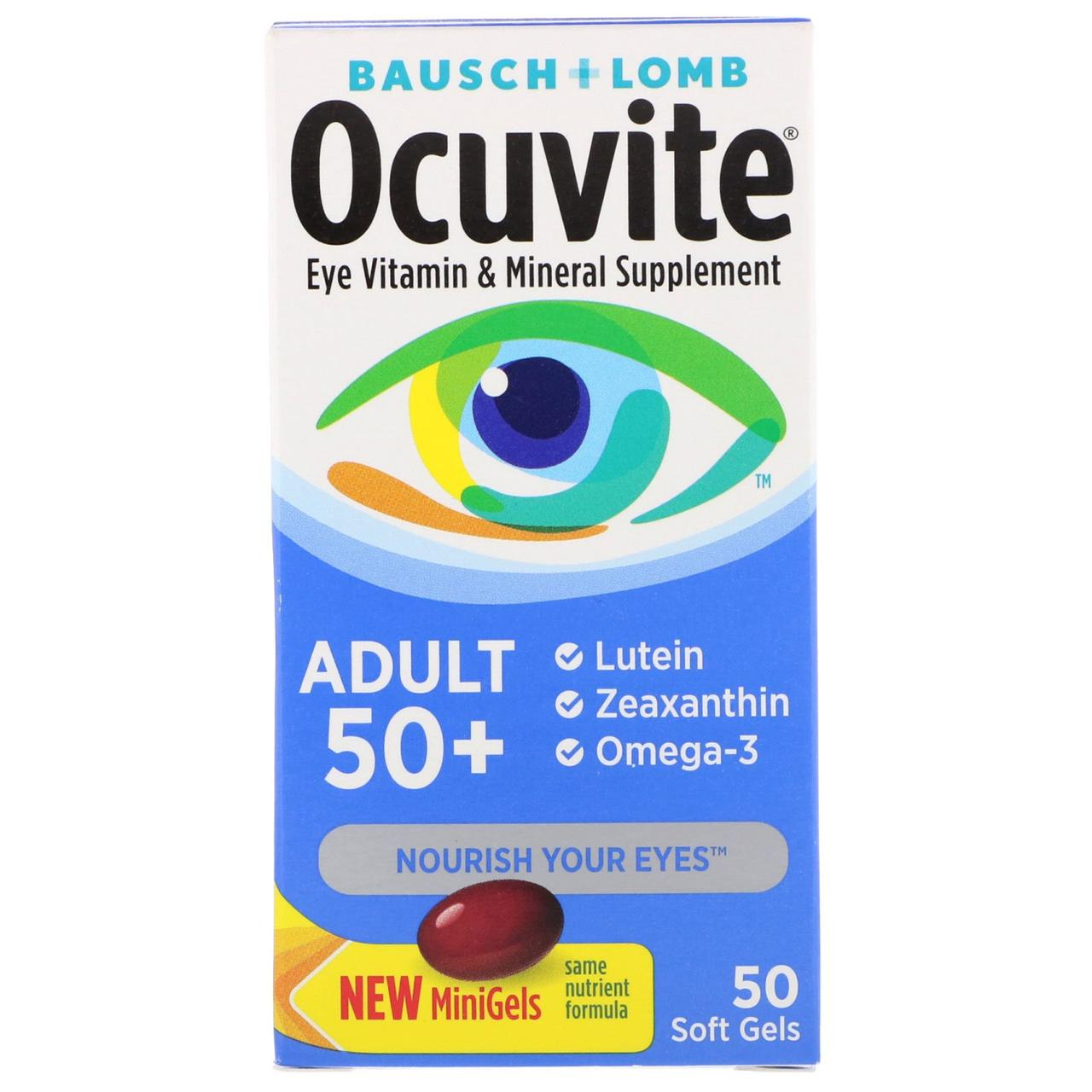 Витаминная и минеральная добавка для глаз 50+, Bausch & Lomb, Ocuvite, 50 таблеток, скидка
