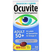 Витаминная и минеральная добавка для глаз 50+, Bausch & Lomb, Ocuvite, 50 таблеток, скидка, фото 1