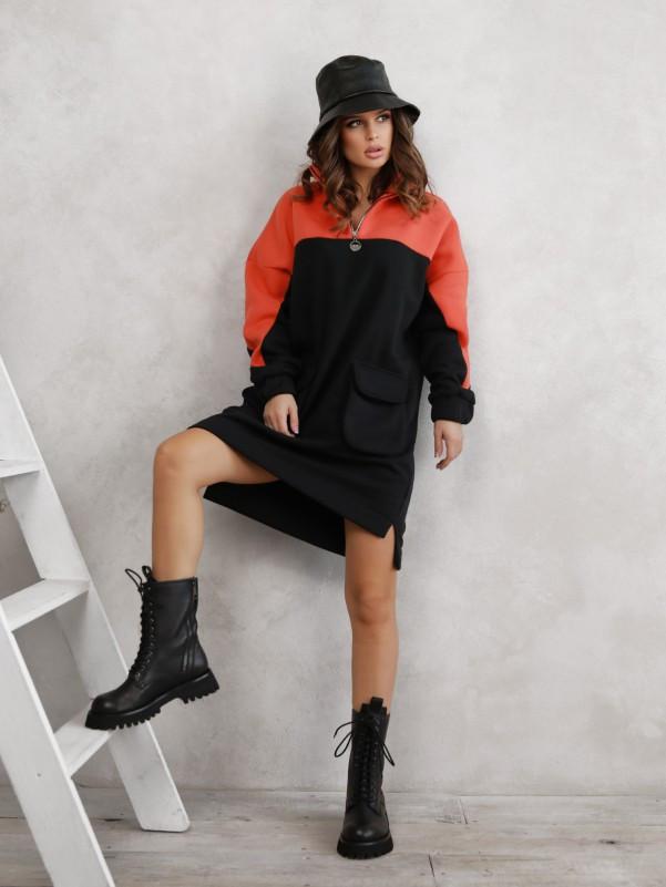 Черно-оранжевое теплое асимметричное платье с карманами  vN10585
