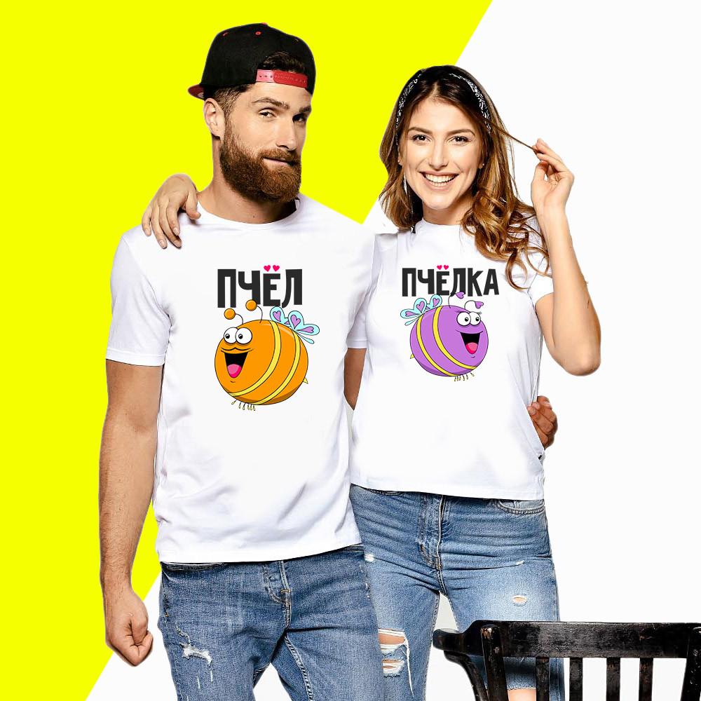 Парные футболки с принтом Пчёлка и Пчёл Push IT Белый