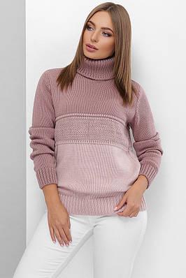 Теплий в'язаний светр під горло