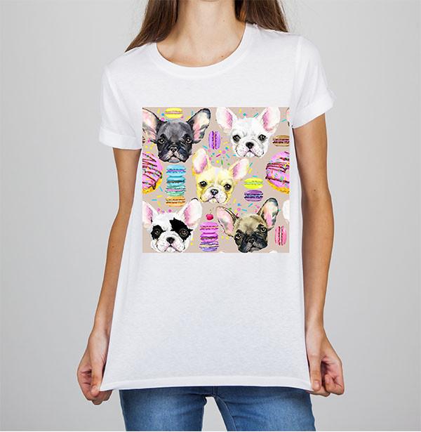 Женская футболка с принтом Собаки и Макаруны Push IT