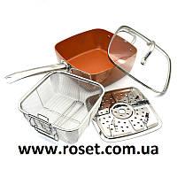 Глубокая квадратная сковорода 8 в 1 Copper PAN, 24см (Фритюрница, пароварка, сотейник)