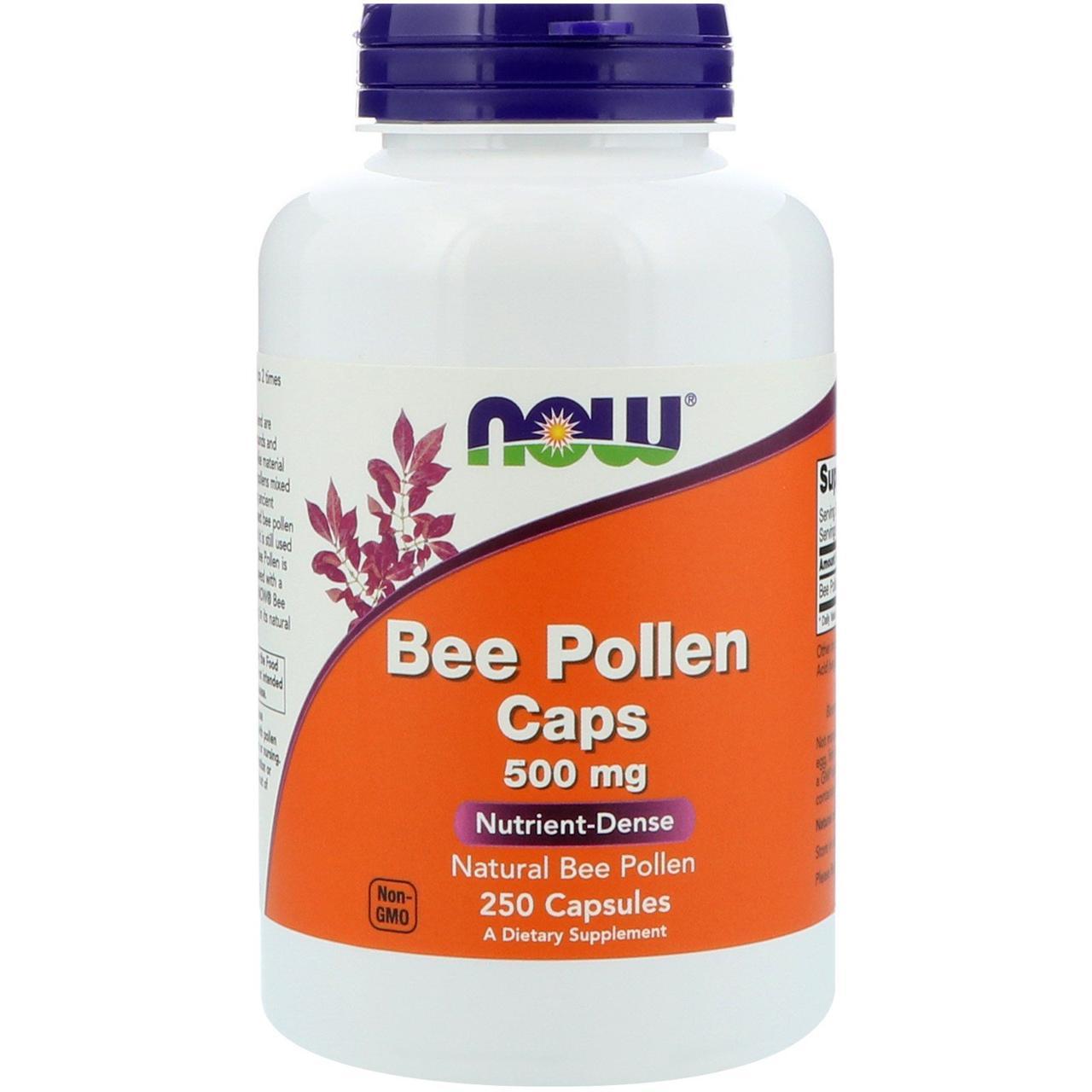 Капсулы с пчелиной пыльцой, Now Foods, 500 мг, 250 капсул, скидка
