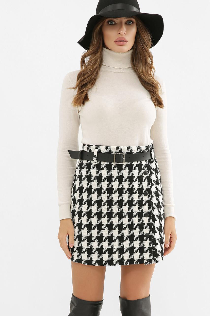 Черно-белая шерстяная юбка