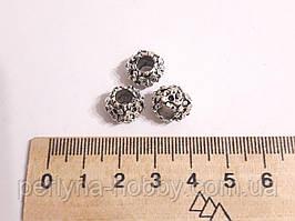 """Фурнітура для біжутерії намистина металева """"Вінок"""". Діаметр 12 мм. Колір ант. срібло. Ціна за штуку."""