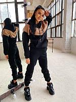 Стильный, теплый и удобный спортивный костюм с капюшоном черный / Теплий жіночий спортивний костюм чорний