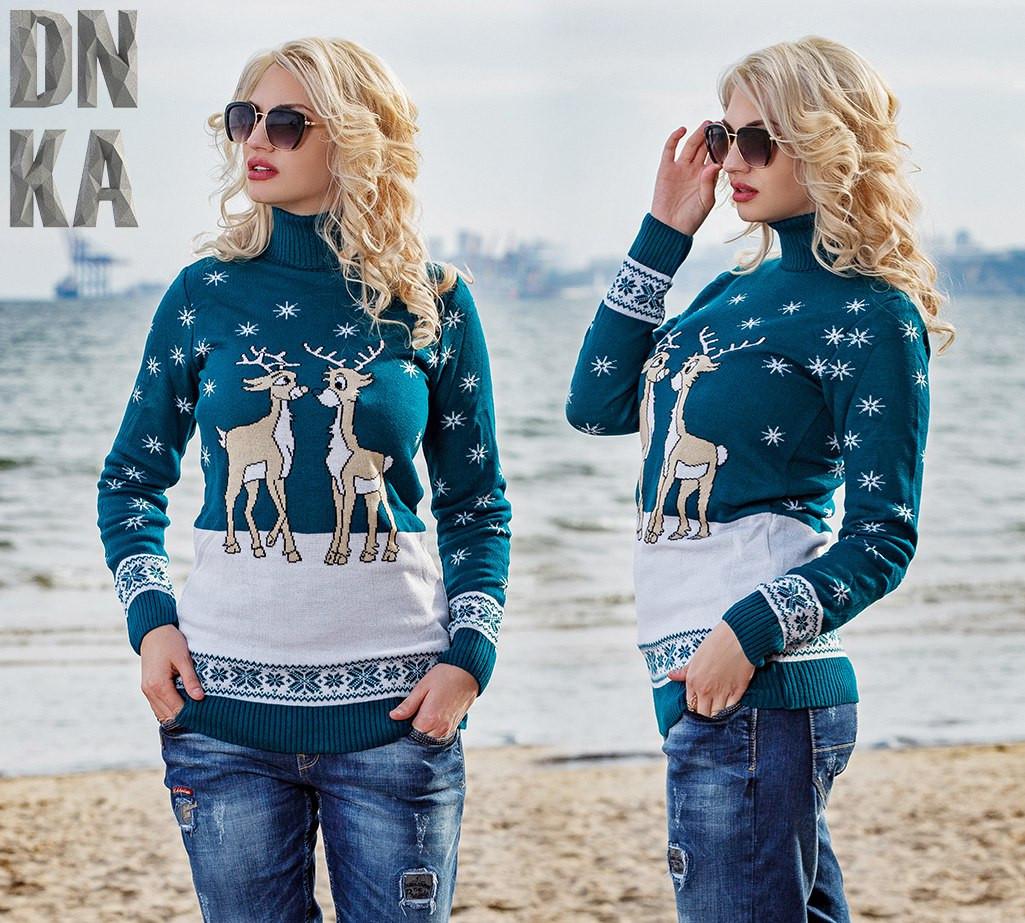 Женский теплый свитер с зимним рисунком